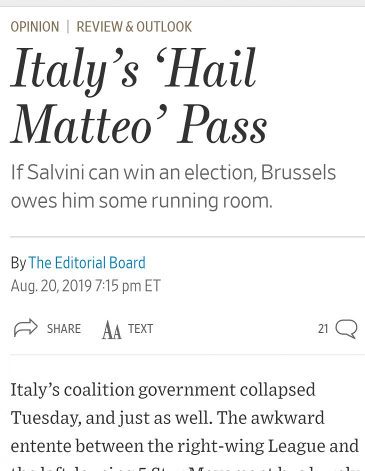 Wall Street Journal. Salvini dovrebbe governare, e ridurrebbe le tasse