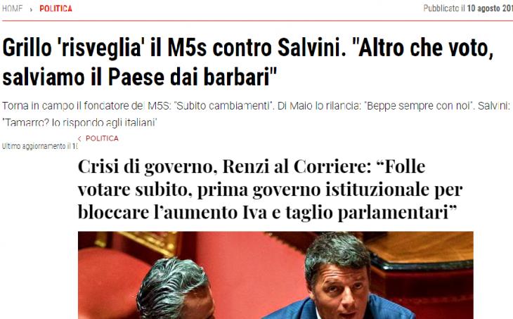 GRILLO, DALLA DEMOCRAZIA DIRETTA ALLA PAURA DEL VOTO ..insieme a Matteo Renzi