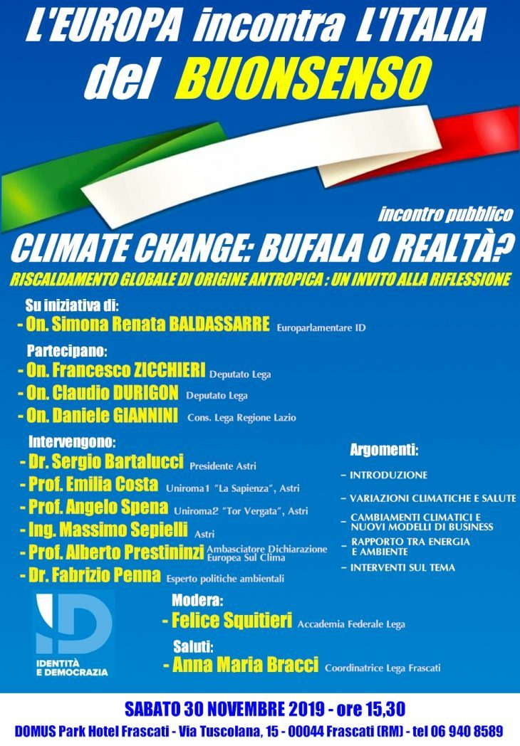 CLIMATE CHANGE: VERITA'O BUFALA? CONVEGNO A ROMA