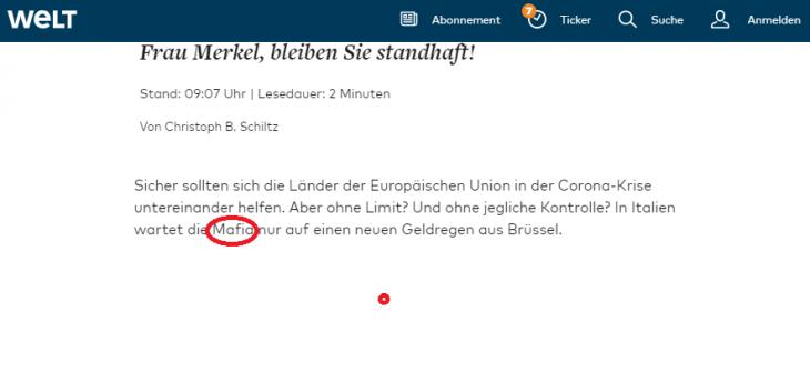 SIGNORA MERKEL STIA FERMA, O AIUTA LA MAFIA. Un estratto dello scandaloso articolo della WELT tedesca