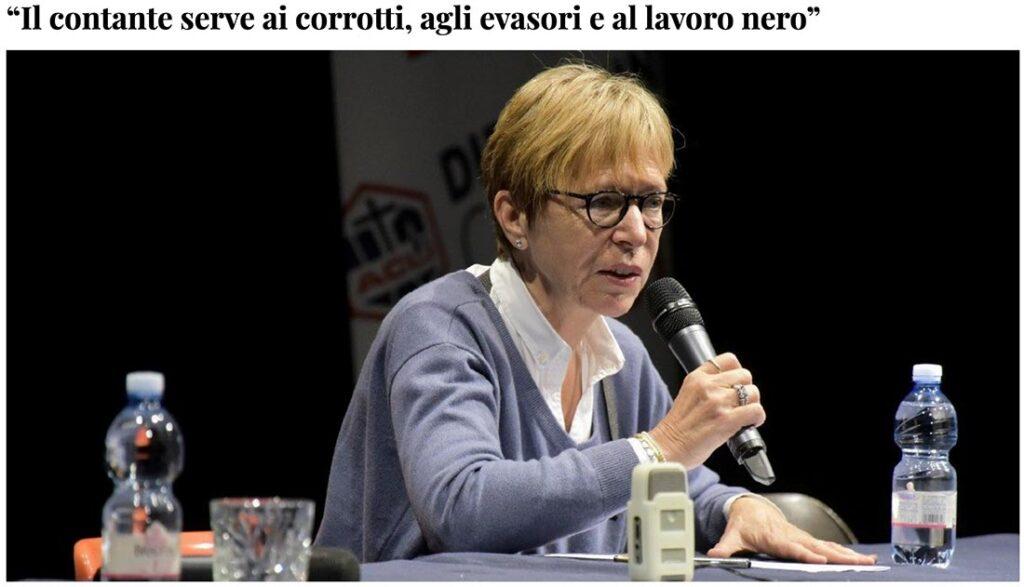Milena Gabanelli partecipa alla truffa della lotta al contante