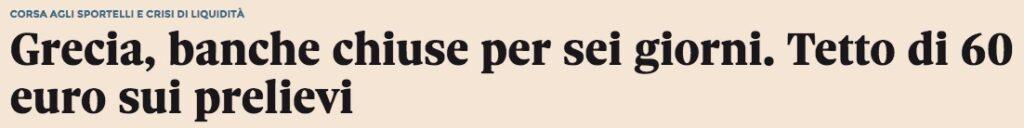 Grecia conti bloccati limite al contante