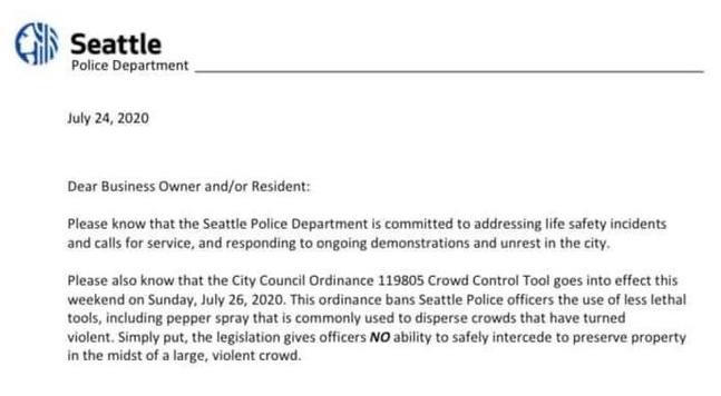 """""""Non possiamo più proteggervi"""": con le mani legate, la polizia di Seattle si arrende"""