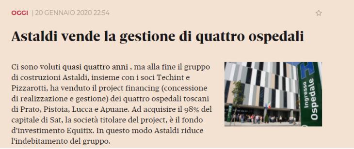 In Toscana ospedali cartolarizzati per speculare sui profitti del Project Financing. Toscana Rossa, apoteosi della distruzione della sanità pubblica. (di Marco Santero).