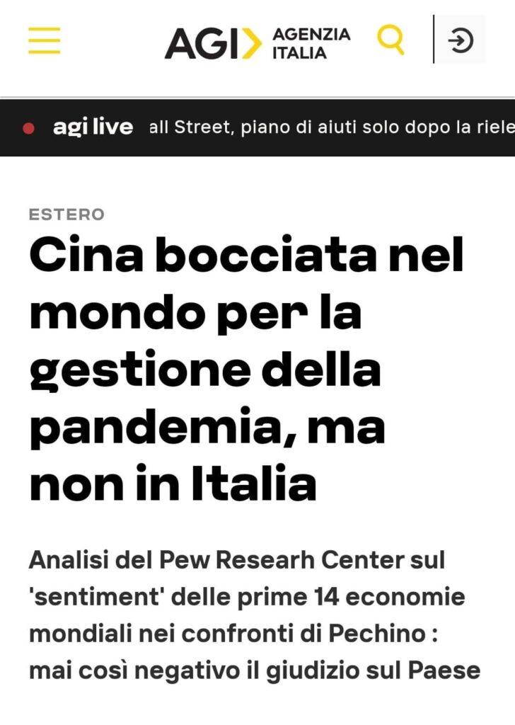 AGI: Cina bocciata da tutti tranne che dall'Italia