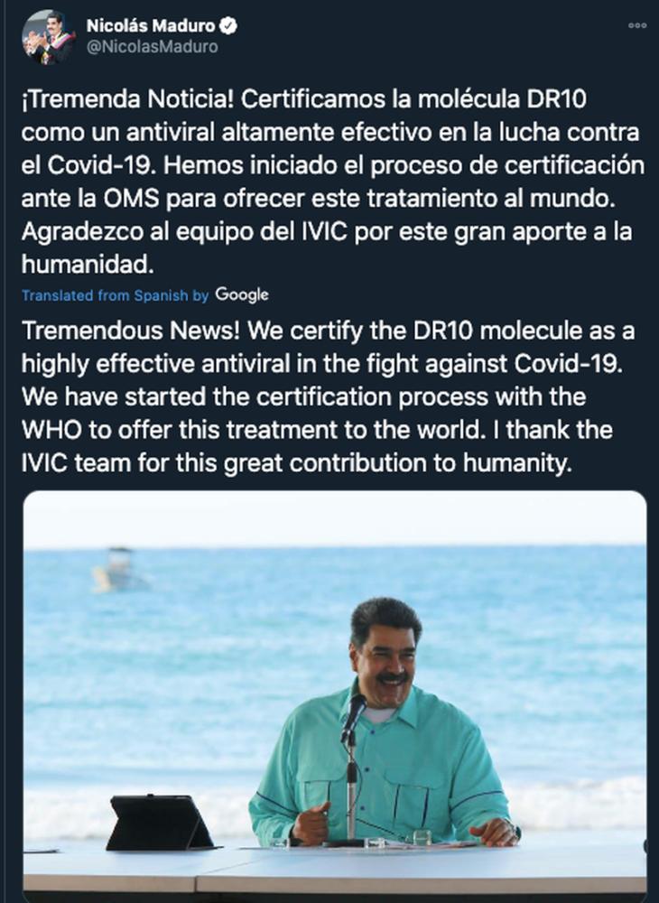 COVID-19: non vi preoccupate, Maduro ha la cura per l'epidemia… (se ci credete)
