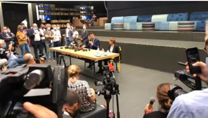 Conferenza stampa di Salvini e Buongiorno dopo l'udienza a Catania