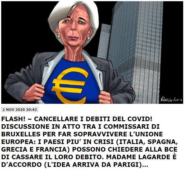 La Lagarde cancellerà il debito COVID? Pareri di Bagnai, di Giacchè ed i dati di Liturri