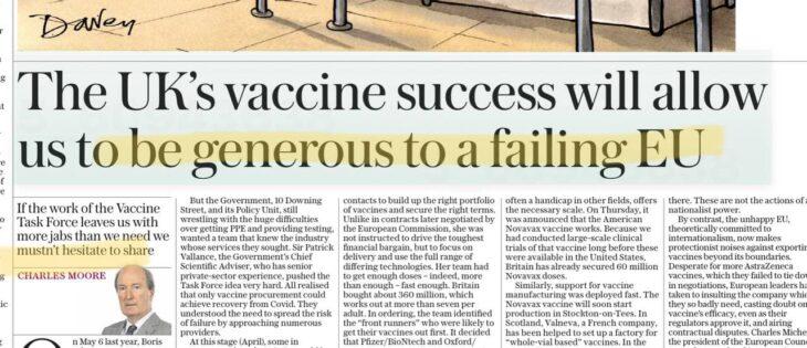 Vaccini: il successo della Brexit premetterà agli inglesi di essere generosi con noi poveri europei. Approvato nuovo vaccino che sarà prodotto nel Regno Unito