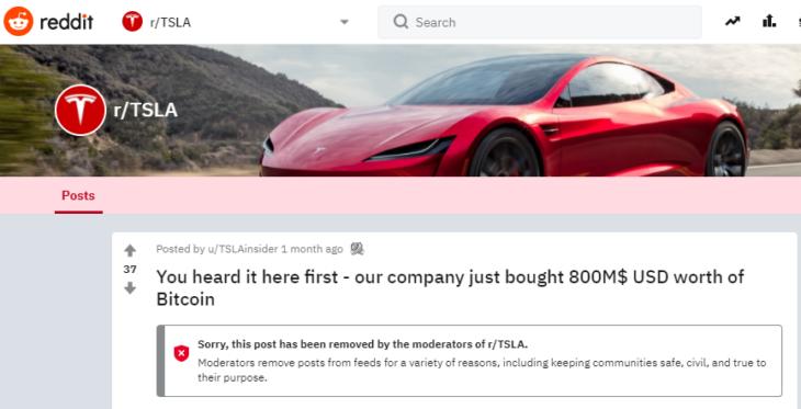 """Un """"Redditor"""" un mese fa fece trapelare l'acquisto di Tesla in BTC .. era un bufalaro"""