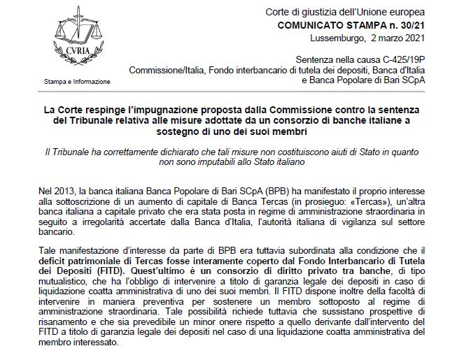 La Corte di Giustizia Europea conferma che la Vestager aveva torto con Tercas. Chi ripaghera ora i danni?