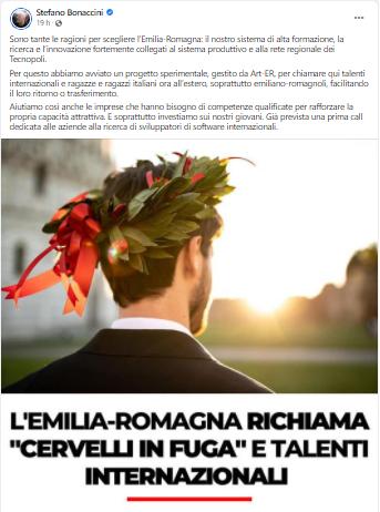 """Anche in Emilia Romagna abbiamo una """"Raggi"""": Bonaccini pubblicizza le università emiliane… con una foto di PISA!"""