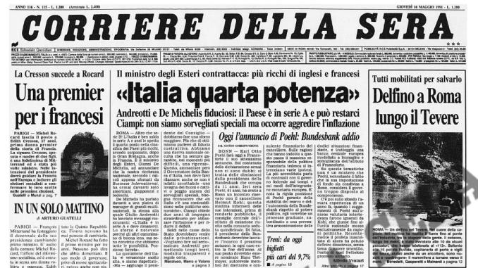 """""""Italia quarta potenza"""" – Corriere della Sera (16 maggio 1991)"""