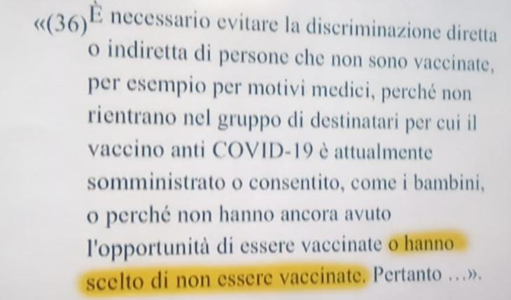 """Rinaldi: nella traduzione del Green pass hanno dimenticato i non vaccinati per volontà. Chi è la """"Manina"""" che discrimina?"""