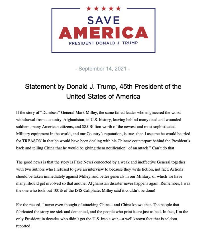 Trump: se le rivelazioni sono vere il Capo di Stato Maggiore dovrebbe essere processato per alto tradimento