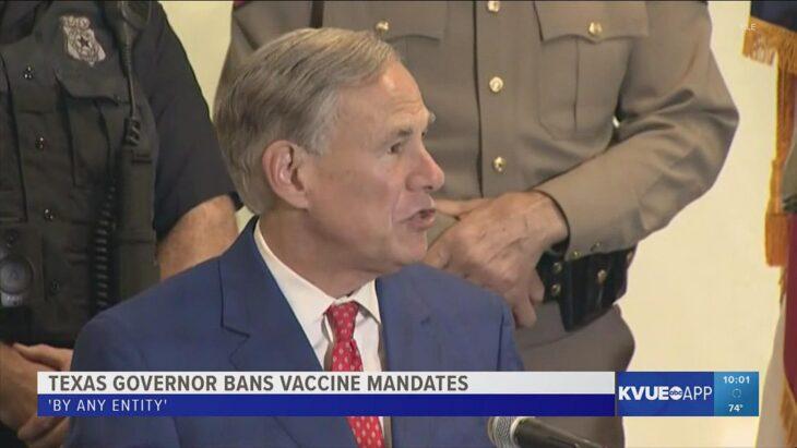 Texas: il governatore Abbott emette ordine esecutivo CONTRO OGNI obbligo vaccinale, pubblico o privato