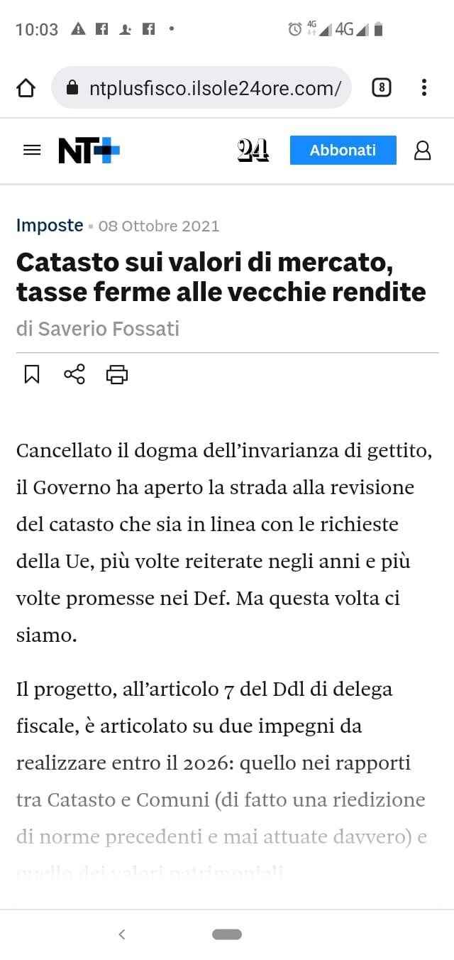 Forza Italia appoggia la revisione dei valori catastali? Segnatevelo, perchè vi asciugheranno